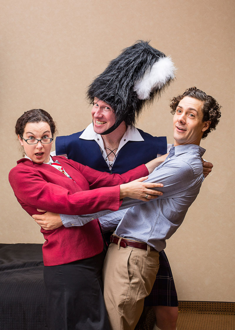 Olivia Shimkus, Ethan LaFrance and Jake Simonds in Unnecessary Farce