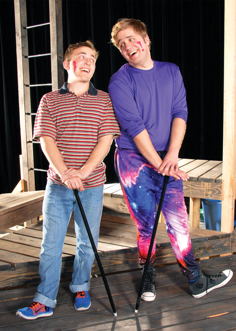 Brock Bivens and Ben Tissell in Godspell, Lakewood Theatre Company, April 28 - June 11, 2017
