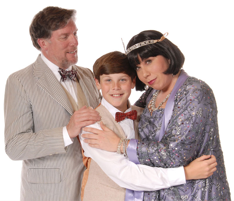 "Ron Harman, Hudson Hale and Jennifer Goldsmith in ""Mame"" at Lakewood Theatre Company, May 1 - June 14, 2015"