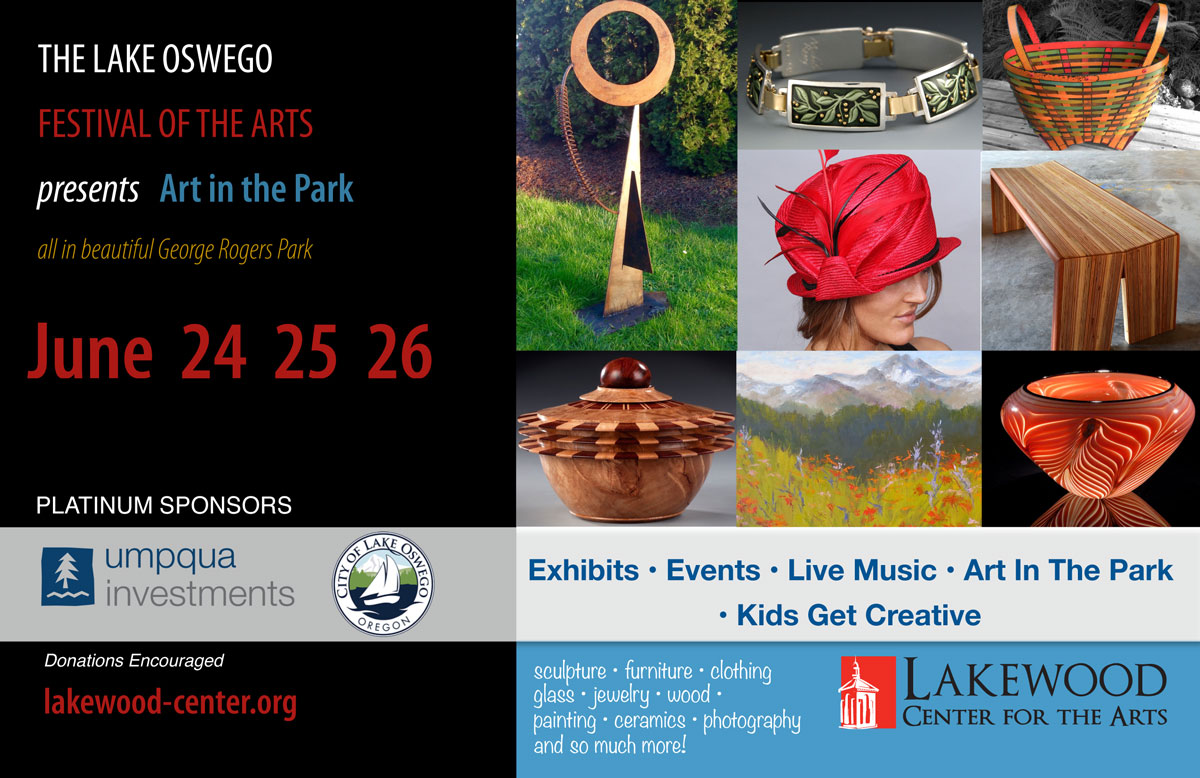 Art in the Park - See Lake Oswego Festival artists at George Rogers Park, June 24, 25 & 26, 2016