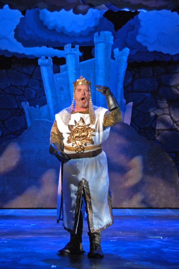 Jay Pevney as King Arthur in Lakewood Theatre Company's production of SPAMALOT, Sept 6 - Oct 13, 2013
