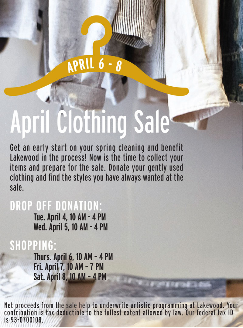 Annual OIne More Time Around Clothing Sale at Lakewood April 6-8, 2017