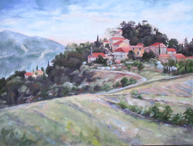 Hill Town, an oil painting by Lake Oswego artist Nancy Tongue