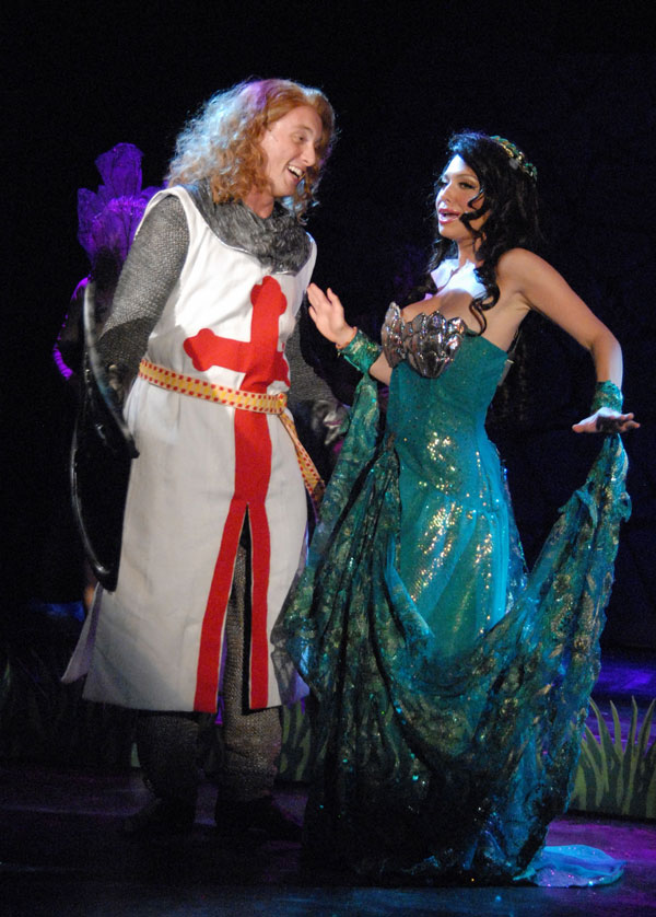 Ben Farmer as Lancelot and Stephanie Heuston as Lady of the Lake in SPAMALOT, Lakewood Theatre Company, Sept 6 - Oct 13, 2013