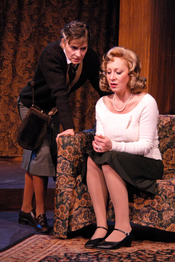 Robin Woolman and Lucy Paschall in The Mousetrap, Jan 10 - Feb 16, 2014 at Lakewood Theatre Company