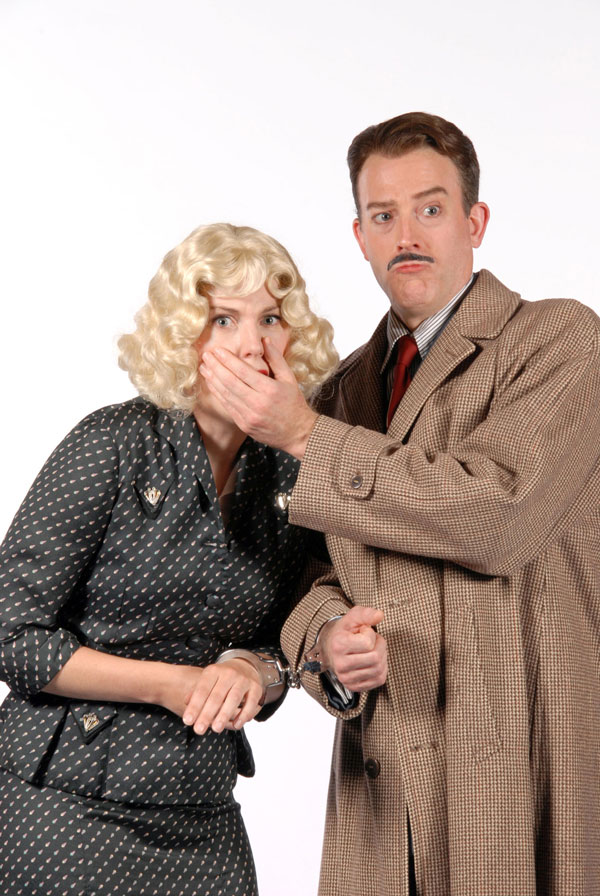 Olivia Shimkus and Leif Norby in The 39 Steps at Lakewood Theatre Company, July 11 - August 17, 2014