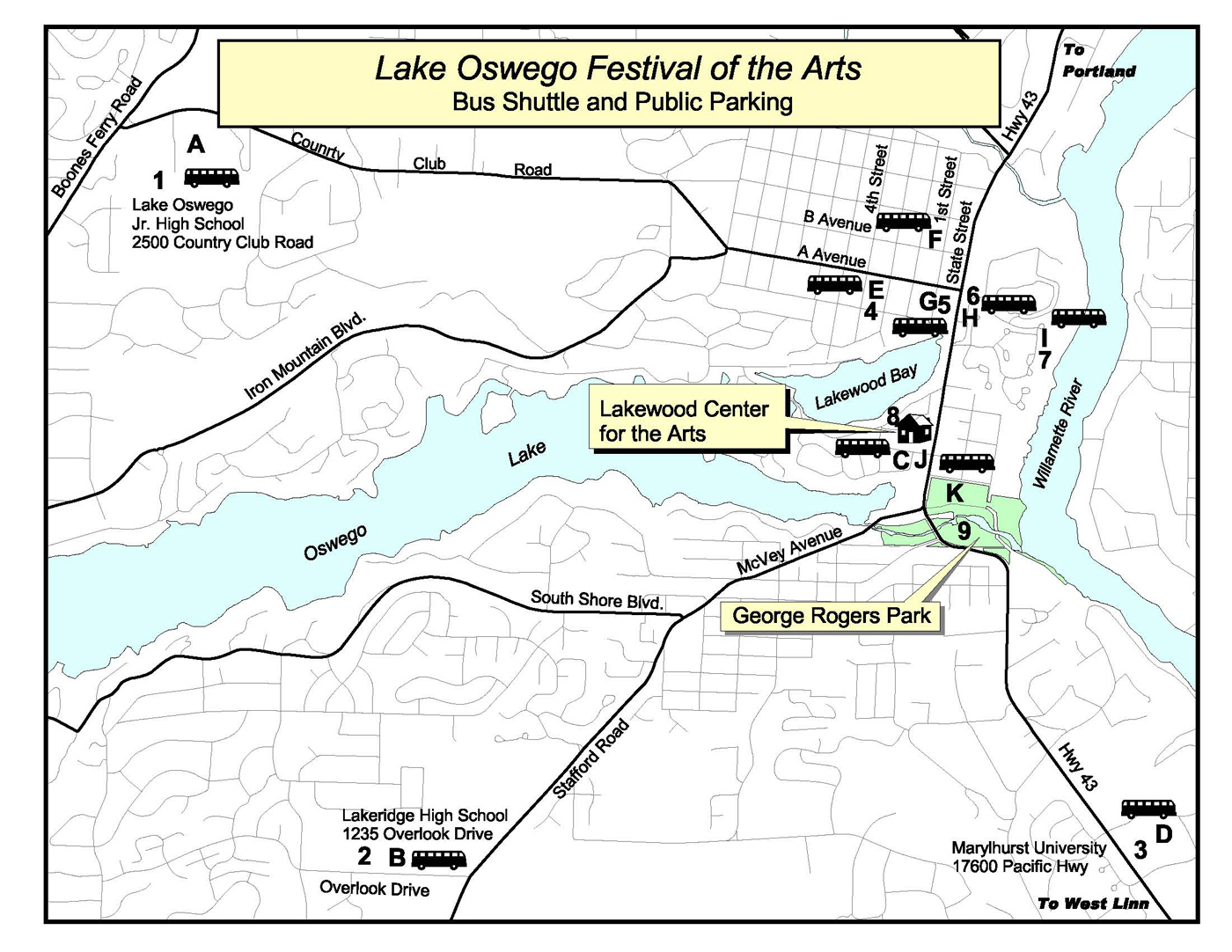 2009 Festival of Arts Shuttle Map